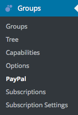 Groups Menu with Groups PayPal