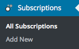 Subscriptions Menu