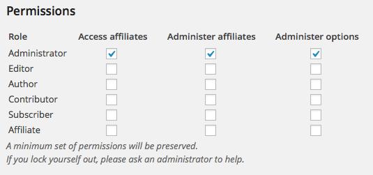 Affiliates Permissions