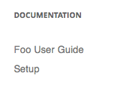 Documentation Links Displayed in Widget