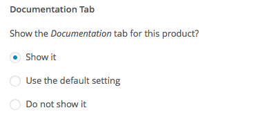 Documentation Tab Product Setting
