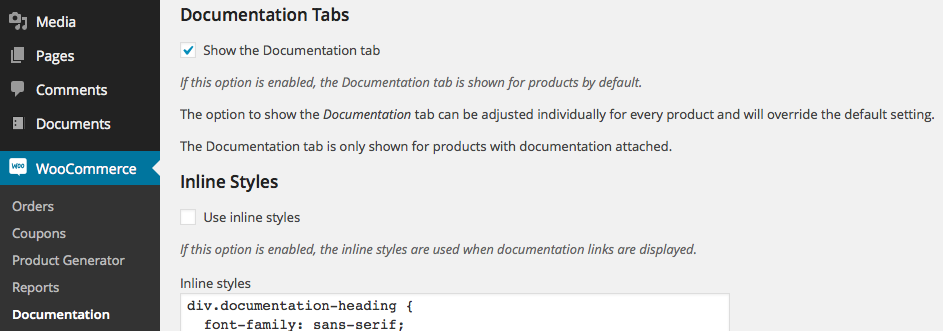 Documentation Tabs Settings