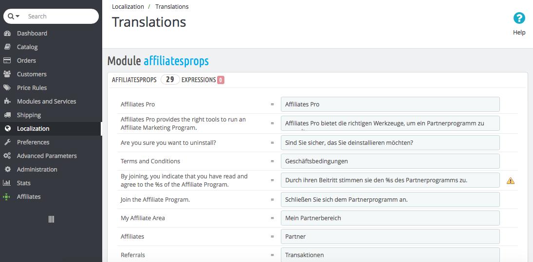 Affiliates Pro Module Translations