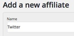 Add a new affiliate - Twitter