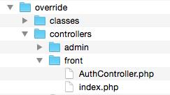 AuthController override folder