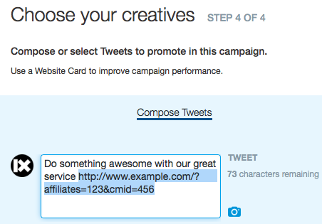 Composing a Promoted Tweet with Campaign ID