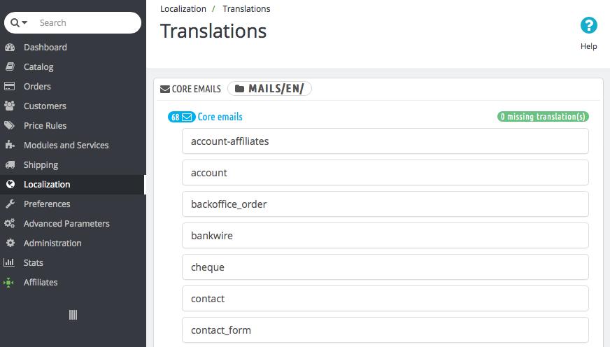 Localization Translation Email Templates