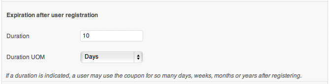 Coupon expiration after user registration