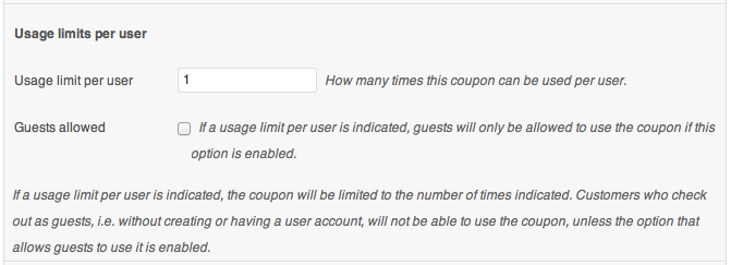 Coupon usage limits per user