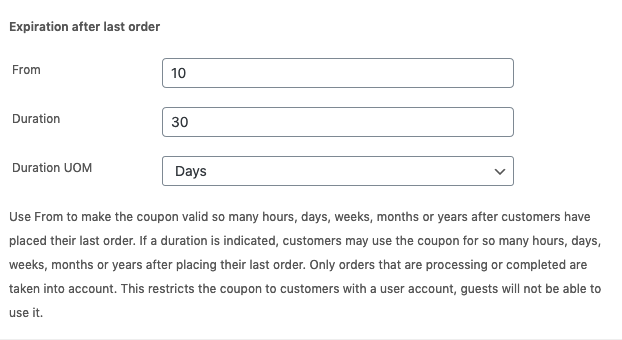 Coupon expiration after last order