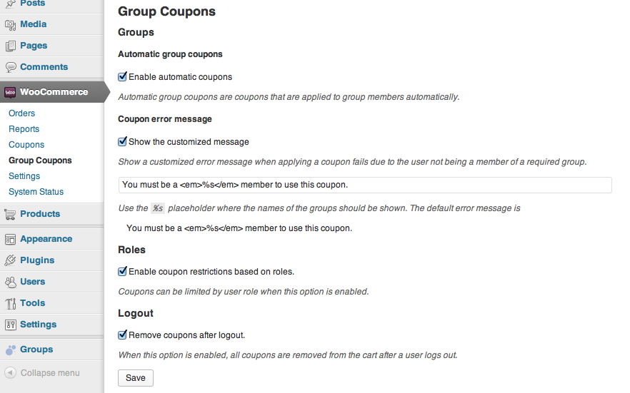 Woocommerce affiliates coupons