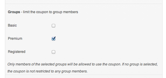 WooCommerce Group Coupons - Coupon Detail - Groups