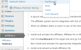 Affiliates MS - Multisite Settings