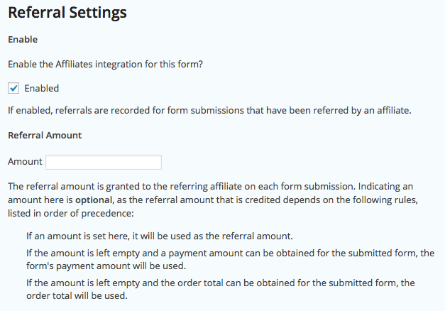 Form Settings - Referral Settings