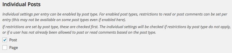Settings - Individual Posts