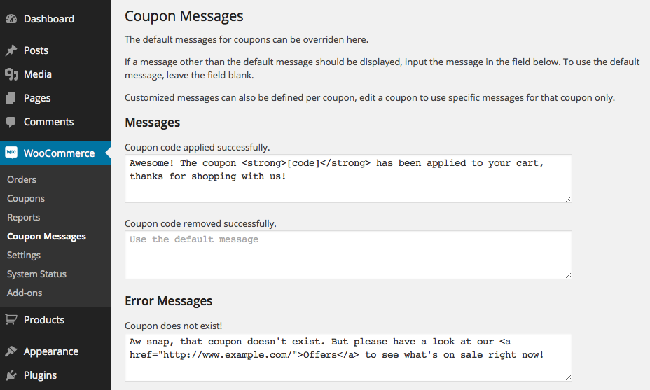 Customized Generic Coupon Messages
