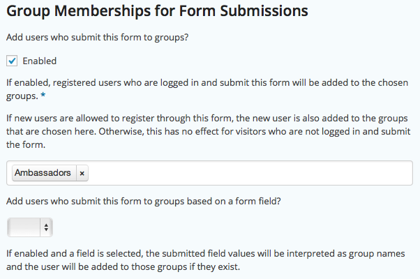 Group Memberships for Form Submissions