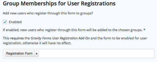 Group Memberships for User Registrations