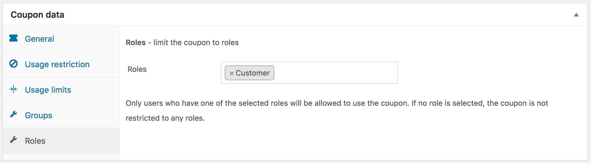 Showing the settings for a coupon restricted to the Customer role