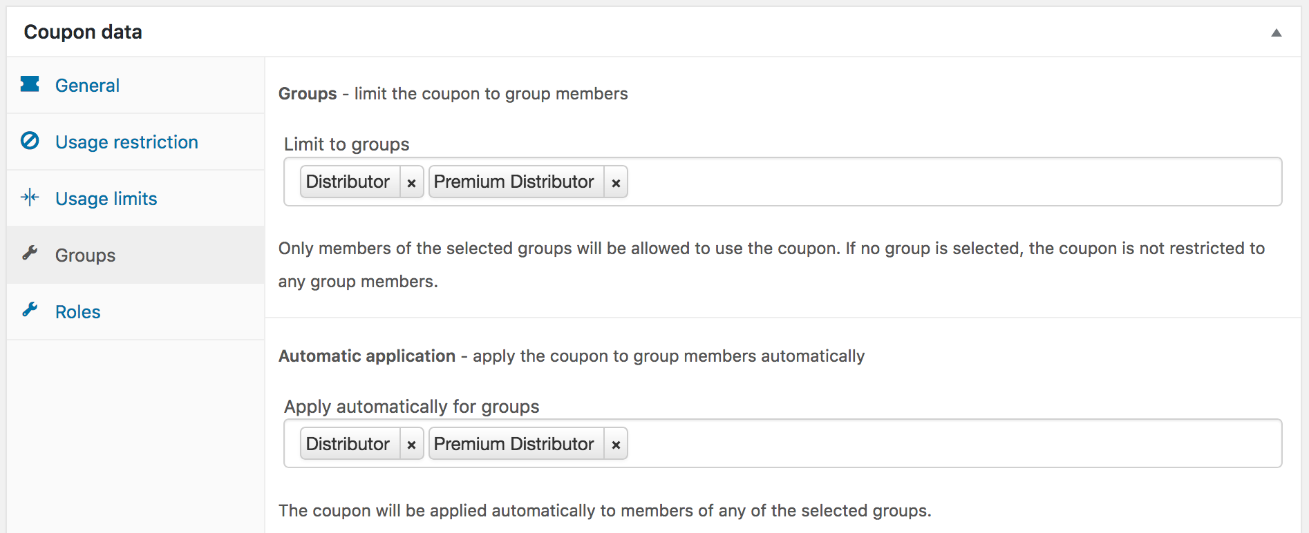 Showing coupon settings for distributor groups