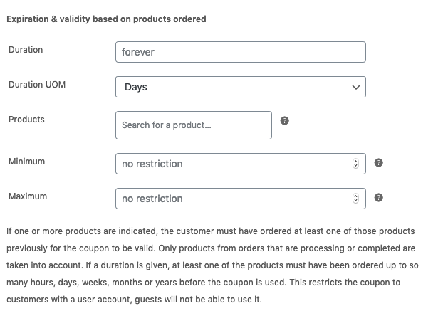Coupon expiration and validity based on products ordered