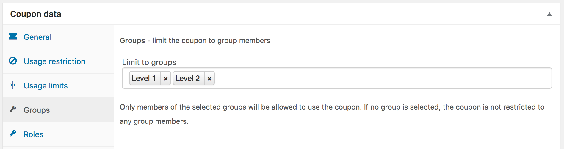 Showing settings for a coupon restricted to two groups