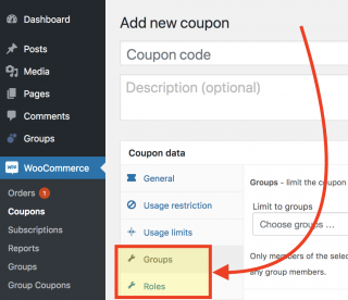 Showing new coupon settings for groups and roles