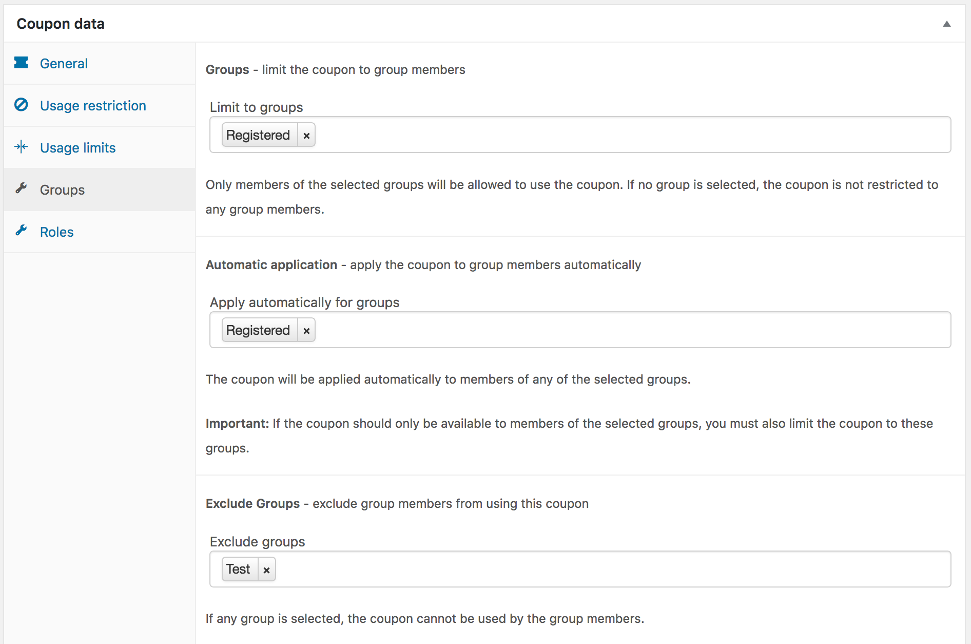 Settings for a Registered group Coupon excluding Test group