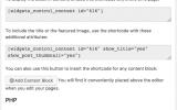 Widgets Control Content Block Codes
