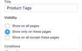 Widgets Control Pro - Product Tags widget example