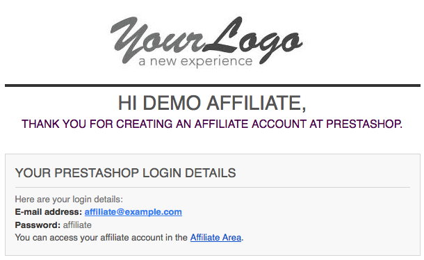 Demo Affiliate Email