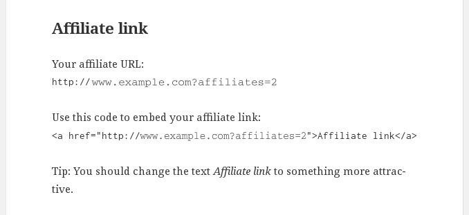 Affiliate URL